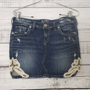 SILVER Francy Distressed Mini Jean Skirt size 27